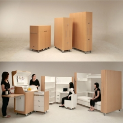 Designed by Japanese company Atelier OPA, the Kenchikukagu is a series of mobile and folding furniture. The Kenchikukagu series consist of a folding work station, a sleep station and a mobile kitchen.