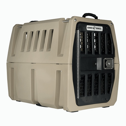 Gunner Dog Kennels. The only 5 Star Crash Test Rated travel crate according to the Center For Pet Safety. So many interesting, thoughtful, design details. (They seem like the YETI of kennels.)