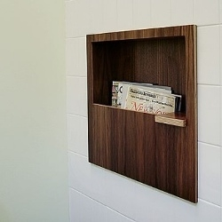 Kerf Design's clever magazine/coffee cup shelf for the bathroom.
