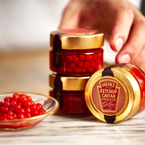 Heinz Ketchup Caviar! Ketchup gets the molecular gastronomy treatment. They are giving away 150 limited edition jars for Valentine's Day.