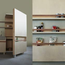Johanneke Procee's 'Keukenkabinet' is a project about opening a space at the moment one needs it. When closed, cabinet is a piece of furniture that's a part of the living space. When open, you literally create a new space.