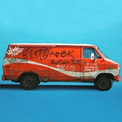 Kevin CYR's newest paintings of auto vehicles: all trucks, all modified by the spray-cans of street artists, all oils on canvas.