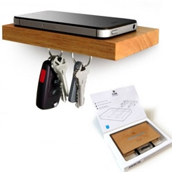 Phone. Wallet. Keys. Sunglasses. Keep all your essentials on this small floating shelf with a magnetic underside.