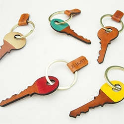Ship & Shape Key-Key Fob ~ laser cut + painted/stained leather keychain.