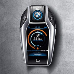 BMW i8 Key has an LCD screen on it to tell you if the car is locked, your available range, and how much charge you have.