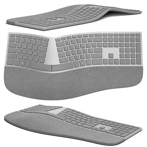 Microsoft Surface Ergonomic Keyboard. Bluetooth 4.0 and palm rest covered in two-tone grey mélange Alcantara.