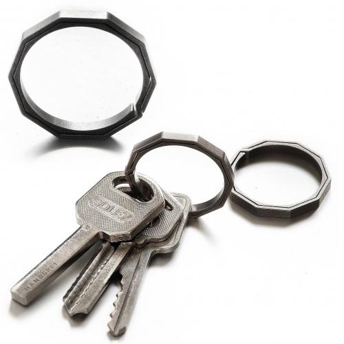 Handgrey Knox Titanium Keyring - Lateral Split Key Ring in Stone-Tumbled Finish. Decagon on the outside, circle on the inside.