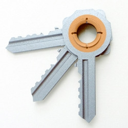 Oscar Diaz key-cutting concept where keys can be 3D-printed and customized ~ even interlocking!