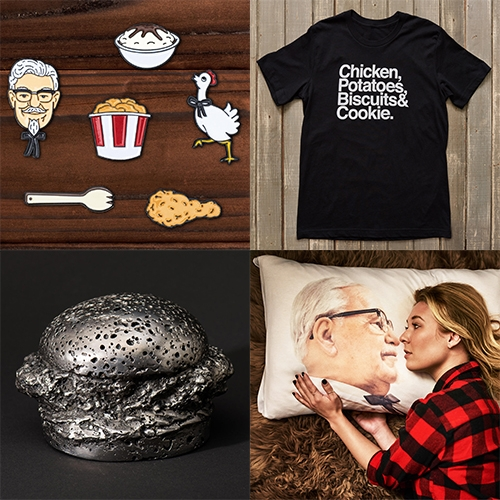 KFC Ltd. The ultimate trendy swag shop to show your Kentucky Fried Chicken love from W+K! Everything from enamel pins, drumstick socks, patches, and helvetica tees, to pillow cases, necklaces and more...