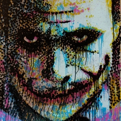"This Saturday in East London there is The Big Issue Charity Show at Black Rat Press, profits to the homeless. Works include this ""joker"" print on glass by Pure Evil. Also work by Blek le Rat etc."