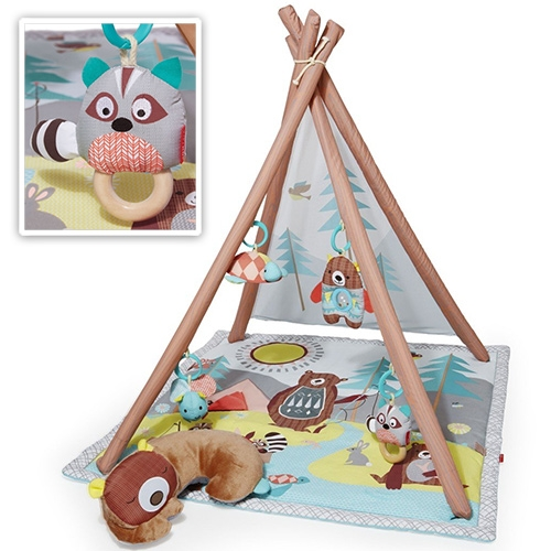 "Skip Hop Camping Cubs Baby Activity Gym. Perfect for those outdoor/animal loving parents! Complete with light-up firefly, turtle mirror, bear rattle and musical raccoon with wooden teether that plays ""Twinkle, Twinkle Little Star"""