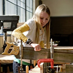Woodworking for kids. This is a woodworking workshop at the Randall Museum in San Francisco.
