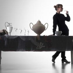 "Beautiful installation from designer Kiki van Eijk concerning a table setting as a ""Gesammtkunstwerk"" (art project)."