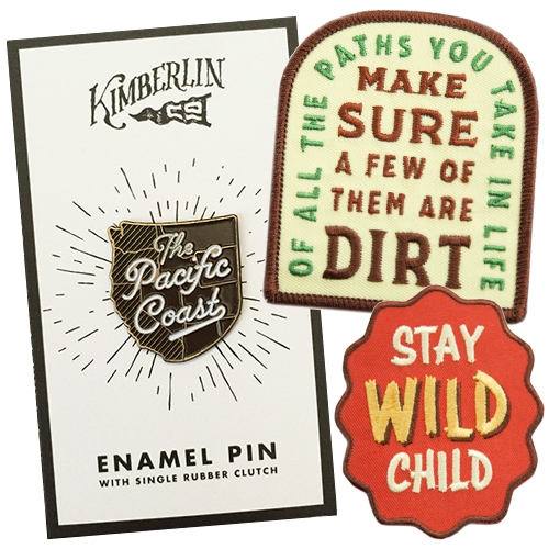 "Kimberlin Co. ""Inspiration for Exploration"" enamel pins and patches!"
