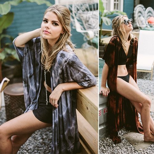 Hey Wanderer Hand Tie-Dyed Kimonos out of Nashville, TN by duo Casey Freeman and Savannah McNeill.