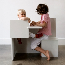 The Child Child Chair is a combination of two child chairs and a small table. Perfect for a child-to-child conversation on their own level. By Maartje Steenkamp