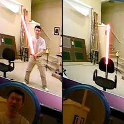 Yanke Yan's proof of concept of tracking and rendering a lightsaber in real time using a Kinect hooked up to a PC.
