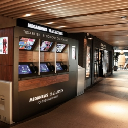 A new way to distribute and buy magazines and periodicals. The world's first automatic magazine newsstand. Made by Meganews for swedish customers at Mood Stockholm.