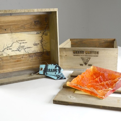 MOC Lab welcome package for the Young Presidents Organization's 2016 annual couple's retreat. The cast resin block of the Grand Canyon's South Rim is the center piece for this rustic welcome package made almost entirely from recycled shipping palettes.
