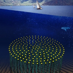 Plans to construct the second-largest structure ever built by man in efforts to detect subatomic particles sent from the far reaches of outer space. It is to be anchored 3,200 feet beneath the Mediterranean.