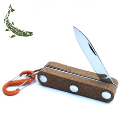 "Mollyjogger Floating Cork Knife! Cork handle and stainless steel 4"" blade with key ring. Water resistant NiteIze S-Biner included, choose from colors orange, lime and stainless steel."