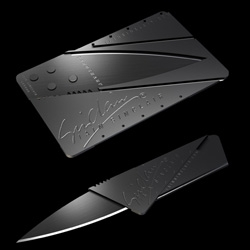 Supersleek foldable knife in the size of a credit card - designed by Iain Sinclair.