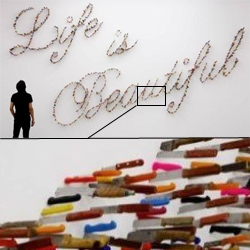 Knife typography. Art so sharp you could cut yourself! Amazing installation made entirely by knives by Iranian designer Farhad Moshiri.
