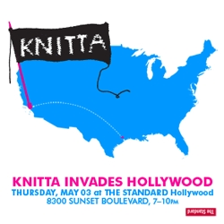 Knitta, the knit  graffiti crew from Houston, TX, will be installing site-specific new work in the lobby at The Standard Hollywood. The opening party will be happening on Thursday, May 3rd from 7-10pm.
