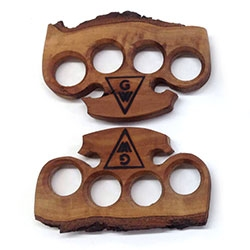 Gopherwood Designs Knuckle Dusters - made of locally sourced central California coast woods.
