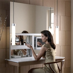 Kohler's Uplift ~  The four-foot-wide mirror rises with the slight force of your finger from underneath and has 6 outlets inside and is ready for an lcd mount...