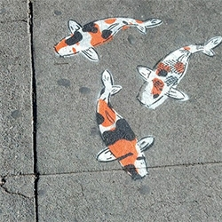 Fascinated with Jeremy Novy's street art koi ponds popping up on sidewalks...
