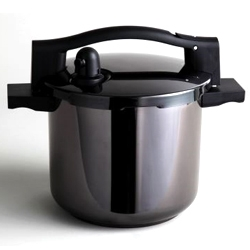 Sleek 'Subito' pressure cooker by Konstantin Grcic for Serafino Zani in blackened stainless steel.