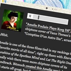 """""""Amelie Poulain Plays Korg DS"""", a chiptune cover of Yann Tiersen's """"Comptine D'un Autre Ete"""", arranged by J8bit."""