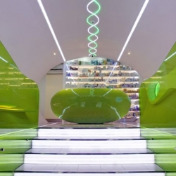 Karim Rashid has completed the interior design for the Oaza Zdravlja pharmacy in Belgrade, Serbia. The architectural forms and weight of this space reference the beautiful intricacies of the human body and healing process.
