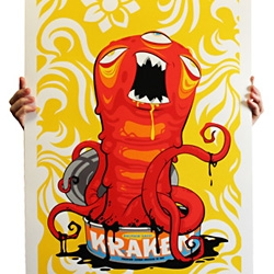 """Andrew Bell has a cool new 8 color screen print, """"Dolphin Safe Kraken"""". Sure, but it is organic too?"""
