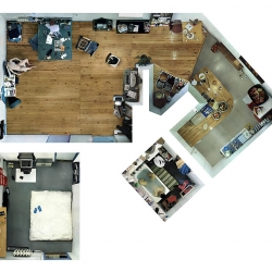 "aneta grzeszykowska & jan smaga are a duo from warsaw who put together images of an apartment looking from above, somewhat in a ""plan"" format.  awesome details."
