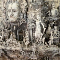 Check the incredibly detailed work of Kris Kuksi. Kuksi's painstaking process results in these amazing mixed-media sculptures that reflect humanity's violent nature past, present and future.