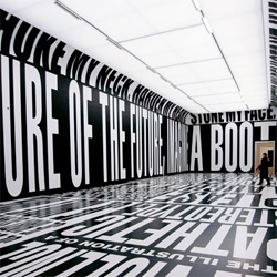 barbara kruger in taking place at the temporary stedelijk - Designboom has great pics!