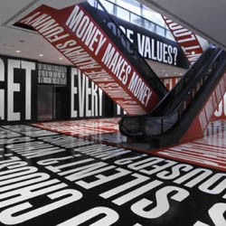Artist Barbara Kruger takes over the lower level of the Hirshhorn Museum with her supersized type through December 2014.