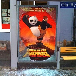 Action in the bus shelter to promote Kung Fu Panda.