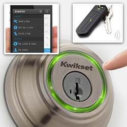 Kwikset KEVO gets in on the bluetooth lock system game... you can open it via iphone or keyfob.