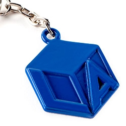 Love the Sisters of LA CUBE logo for LA ~ and it exists as a keychain in powder-coated red, blue, yellow, white, and raw metal!