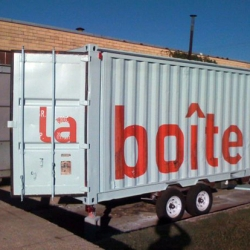 If only a cafe could go to where you want it to be.  Just maybe...  This is a container based cafe, by Mark Meyer of designSTUDIOmodern . It is called la Boite Cafe, green and environmentally sensitive.