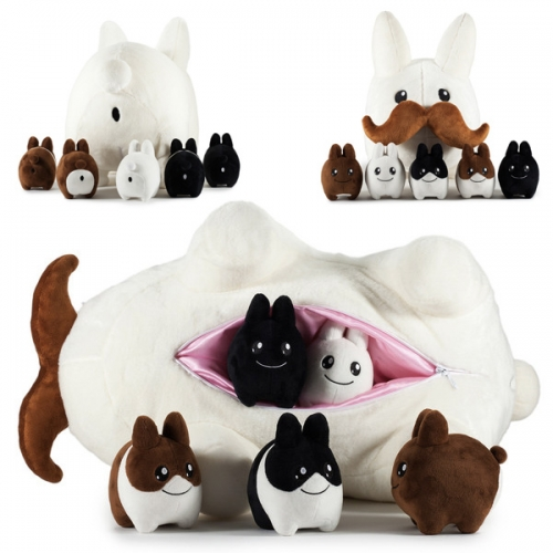 "24"" Stache Labbit with Littons Plush from Kidrobot by Frank Kozik. Adorable limited edition stuffed toy with all the babies zipped inside. Reminds me of a lot of Bucky's favorite dog toys... only cuter!"