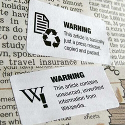 Tom Scott's Warnings ~ hilarious warning labels placed on free papers in the london underground warning about sloppy journalism...
