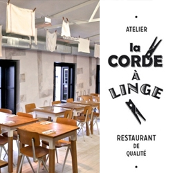 """La corde à linge"" is a French restaurant designed by the studio ""My Beautiful"" with a gorgeous graphic brand identity."