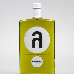 λ /LAMBDA | TO DETERMINE PURITY IS TO RESPECT NATURE'S VALUES  aweome OLIVE OIL's bottle