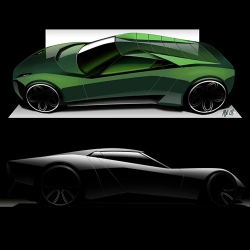 The Lamborghini Miura Nuovo Concept is a design study of a sportscar that pays homage to the original Miura. The design combines aggressive graphics and fast lines with a smooth surface treatment. By Marco van Overbeeke.