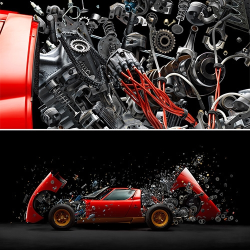 Disintegrating X (Lamborghini Miura SV 1972) by Fabian Oefner for M.A.D. Gallery. Stunning photographic art prints of the exploding Lamborghini will be available in 2 sizes of limited edition prints.