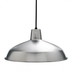 """Nice simple lamp found at Home Depot ~ Progress Lighting Brushed Steel 1-Light Pendant 16"""" diameter ~ perfect for that retro feel"""